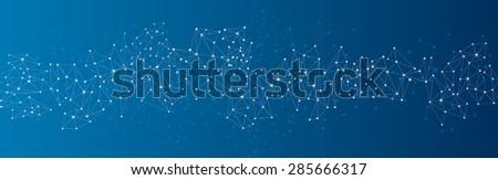 Blue social network mesh. Communication polygonal background. Vector illustration.  - stock vector