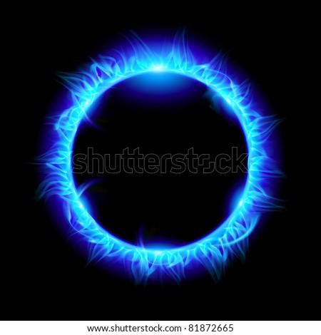 Blue Solar eclipse. Illustration on black background for design - stock vector
