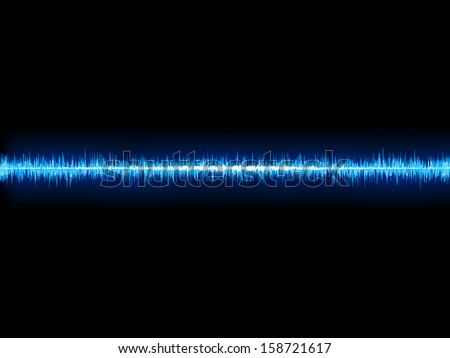 Blue sound wave on white background. + EPS10 vector file - stock vector