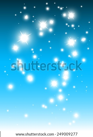 Blue space falling abstract sparkles vector background illustration - Abstract shiny sparkles and glitters over vector blue background illustration - stock vector