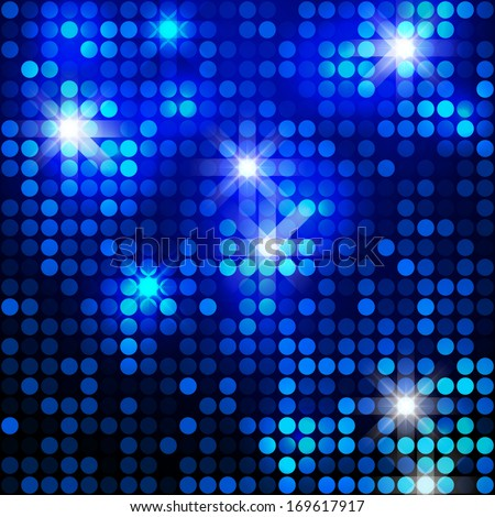 Blue sparkle glitter background. Glittering sequins mosaic pattern. Template design of blue glittering background. - stock vector