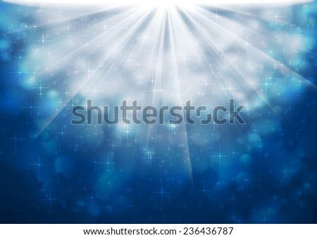 Blue sparkling lights abstract shiny background. Vector design - stock vector
