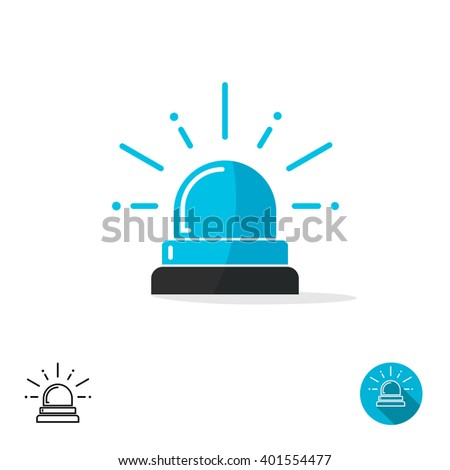 Blue special police flasher light emergency department ambulance accident, logo sign symbol. Police flasher siren sign flat icon with scatter lined rays. Outline round icons set isolated on white - stock vector