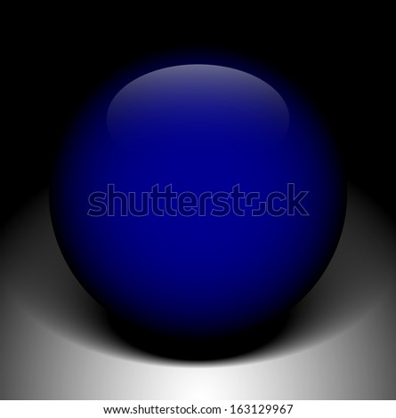 Blue sphere on background with shade - stock vector