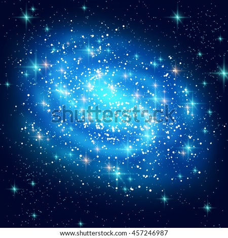 Blue Spiral Galaxy with Shining Stars. Vector illustration. Glowing Outer Space Background. - stock vector