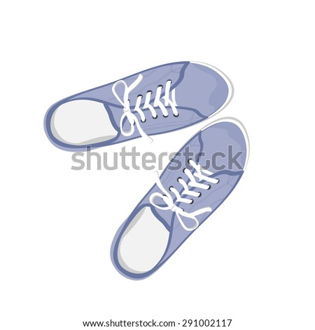 Blue sport gumshoes. Realistic flat illustration isolated on white background. View from above - stock vector