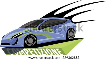 Blue sports car stands on the podium and ready to race - stock vector