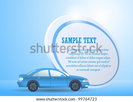 Blue sports car with text area - stock vector