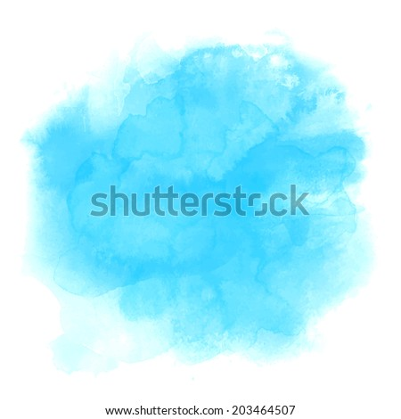 Blue spot, watercolor abstract hand painted background - stock vector