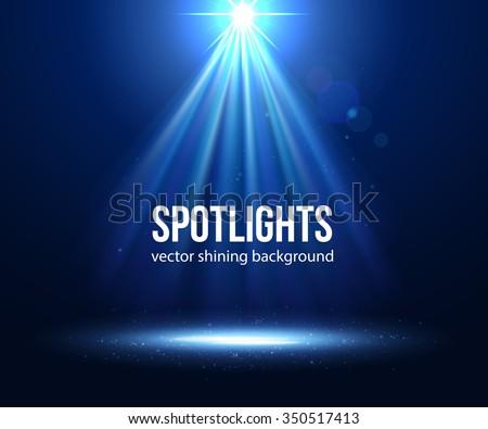 Blue Spotlight. Vector scene illuminated spotlight. Vector EPS 10. - stock vector