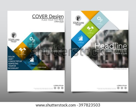 Blue square annual report brochure flyer design template vector, Leaflet cover presentation abstract flat background, layout in A4 size - stock vector