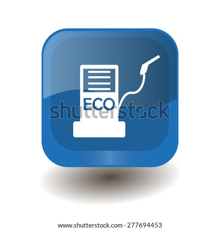 Blue square button with white biofuels sign, vector design for website  - stock vector