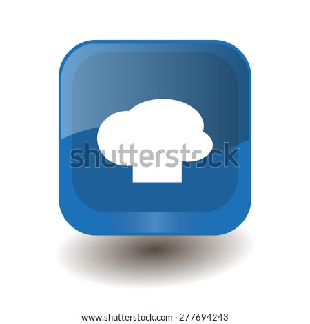 Blue square button with white chef hat sign, vector design for website  - stock vector