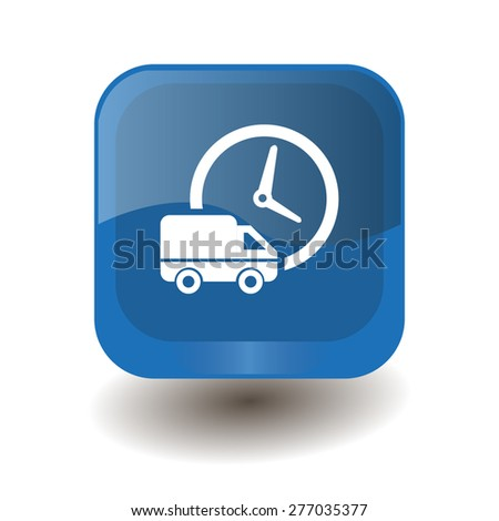Blue square button with white delivery to the clock sign, vector design for website  - stock vector