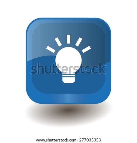 Blue square button with white light bulb sign, vector design for website  - stock vector
