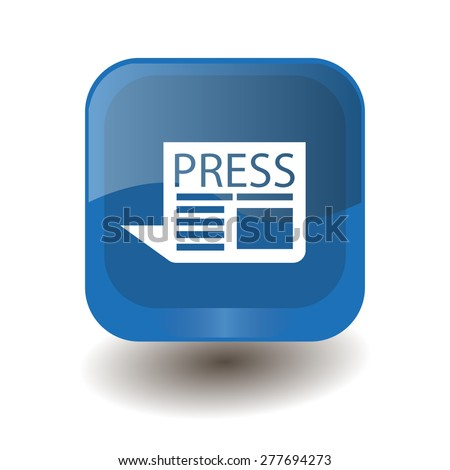 Blue square button with white newspaper sign, vector design for website  - stock vector