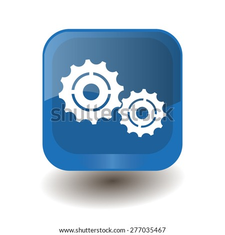 Blue square button with white settings sign, vector design for website  - stock vector