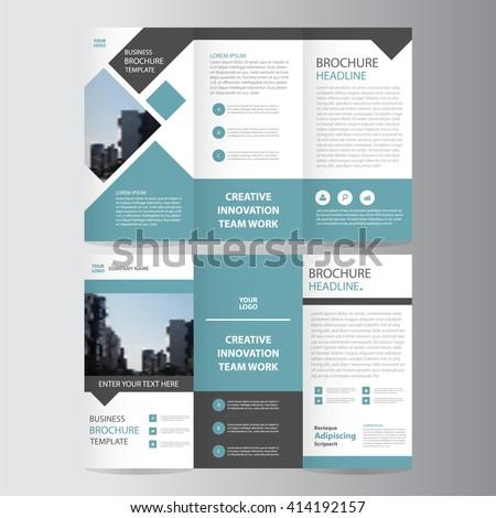 blue square geometric vector business trifold Leaflet Brochure Flyer template flat design set - stock vector