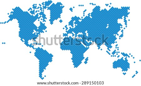 Blue square world map on white background, vector illustration. - stock vector