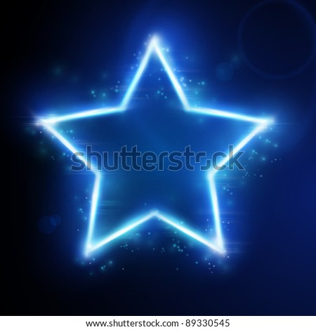 Blue star frame on dark background with space for your text. Light effects give it a glow and sparkle. EPS10 - stock vector