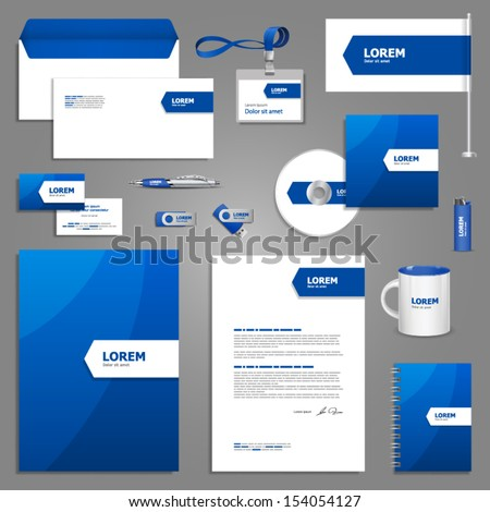 Blue stationery template design with white arrow. Documentation for business. - stock vector