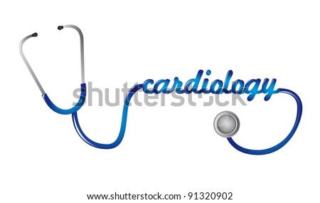 blue stethoscope with cardiology text vector illustration - stock vector