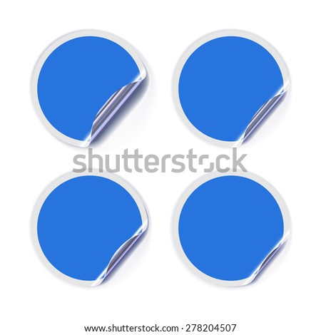 Blue Stickers for Sale or Advertising Actions With Curled Gold Edge. Vector Illustration - stock vector