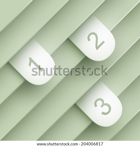 Blue stickers sticking out of the divider on paper background. Part of set. - stock vector