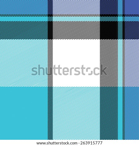 Blue striped plaid pattern that tiles seamlessly in any direction. - stock vector