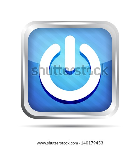 blue striped power button icon on a white background - stock vector