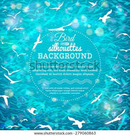 Blue summer birds background. There is place for text in the center. - stock vector