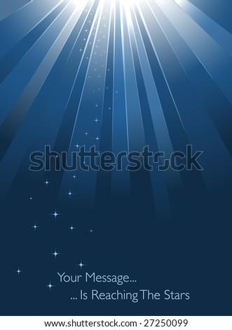 Blue sunburst on blue background - stock vector
