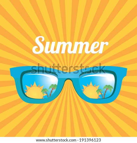 blue sunglasses with tropical island reflection on orange summer rays background. vector summer background - stock vector