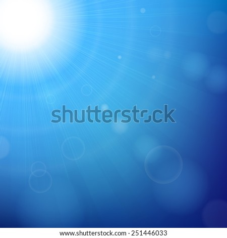 Blue Sunny Background With Gradient Mesh, Vector Illustration - stock vector