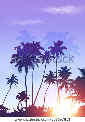 Blue sunrise palms silhouettes vector poster background - stock vector