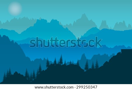 Blue sunset of mountains panorama - stock vector