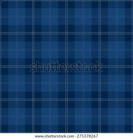 Blue Tartan Plaid Seamless Design - stock vector