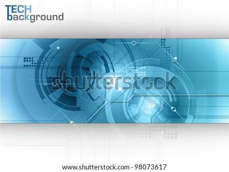 Blue tech background with shining abstract objects - stock vector
