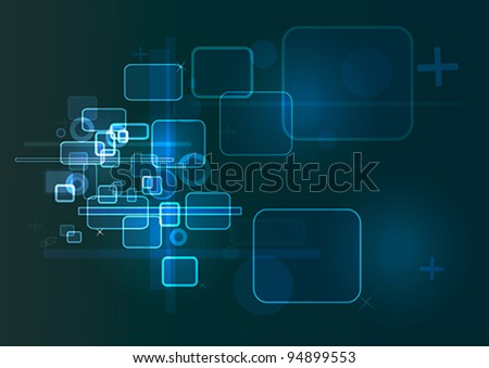 Blue technology based background in blue, black and white colors. - stock vector