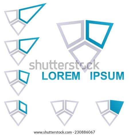 Blue technology symbol logo design set  - stock vector