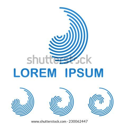 Blue telecommunication logo design template icon set - stock vector