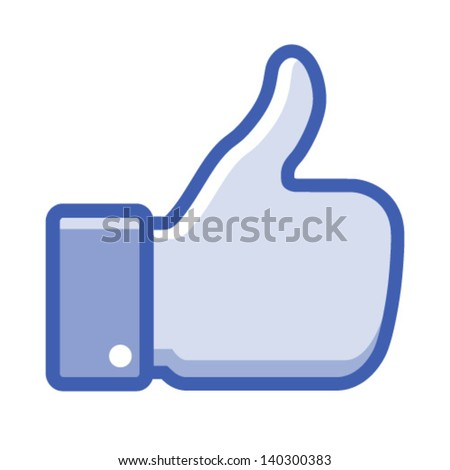 Blue thumb up icon, vector illustration - stock vector