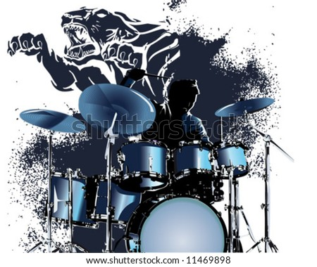 blue tiger drummer splatter - stock vector