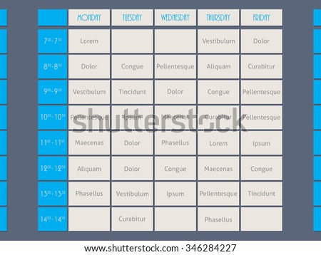 Blue timetable template design flat style with sample text - stock vector