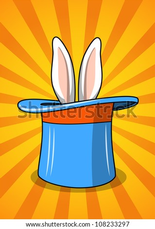 Blue top hat with rabbit ears - stock vector