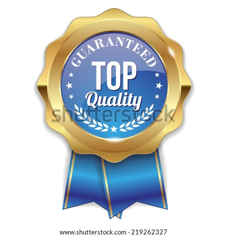 Blue top quality badge with gold border and ribbon on white background - stock vector