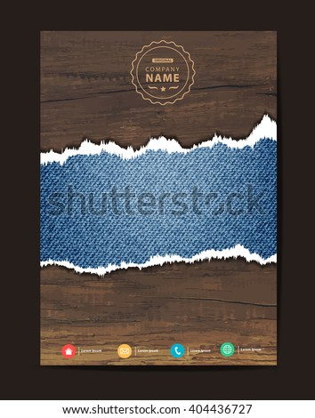 Blue torn denim jeans texture on wooden background space for text, Business brochure flyer design layout template in A4 size, Vector illustration modern design ( Image trace of wooden background ) - stock vector