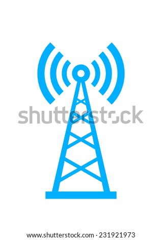Blue transmitter icon on white background  - stock vector