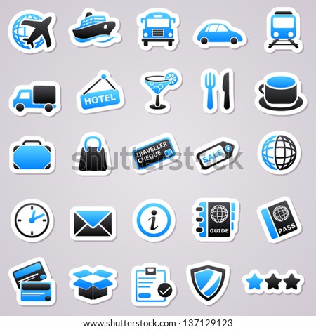 Blue transportation stickers - stock vector