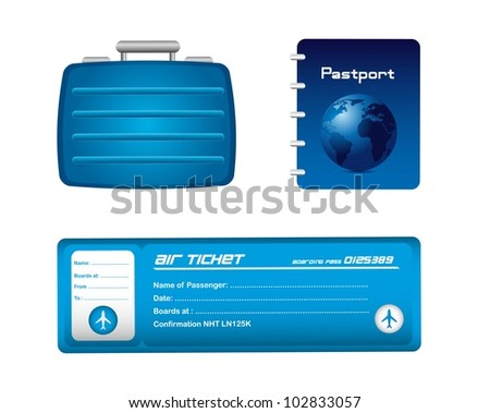 blue travel icons isolated over white background. vector illustration - stock vector